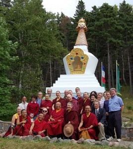 Venerable Thrangu Rinpoche, his attendants, and some of teh Gampo Abbey community in front of the Stupa of Enlightenment, 2011