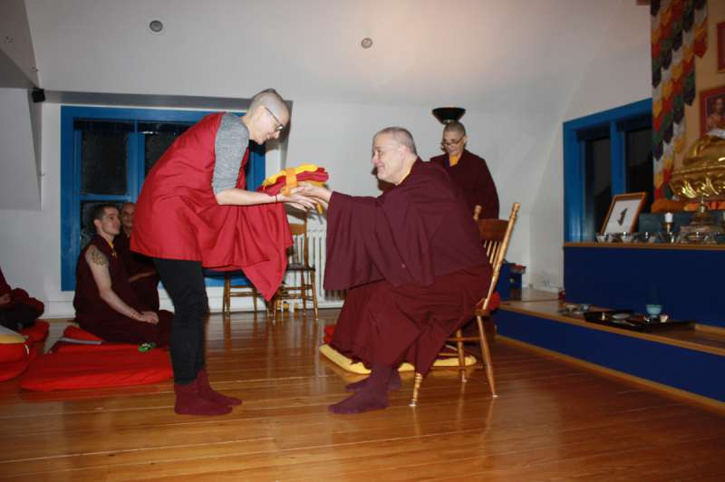 Monastic robes are distributed