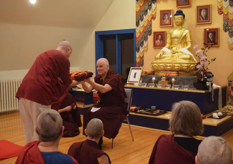 Lion residents receive their temporary monastic robes
